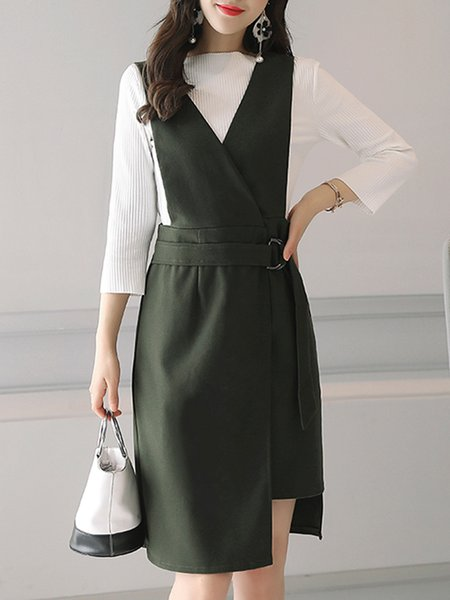 Crew Neck Work Long Sleeve Two Piece Outfits