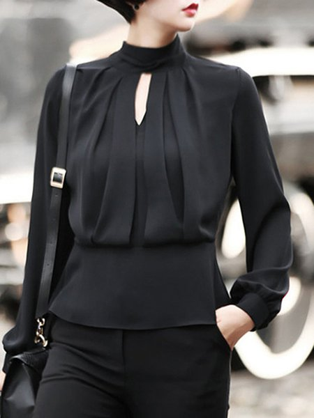 Black Keyhole Draped Long Sleeve Solid Casual Blouse