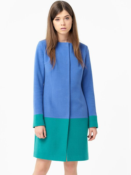 Blue Color-block Long Sleeve Wool H-line Coat