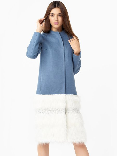 Elegant Long Sleeve Paneled Wool H-line Coat