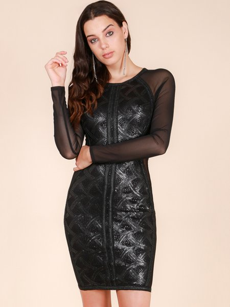 Black Sheath Geometric Crew Neck Long Sleeve Midi Dress