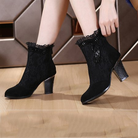 Lace Black Chunky Heel Beading Winter Boots