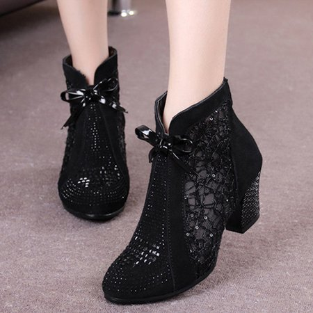 Lace Black Beading Chunky Heel Boots
