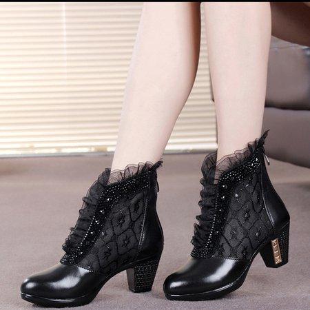 Black Winter Lace Beading Boots