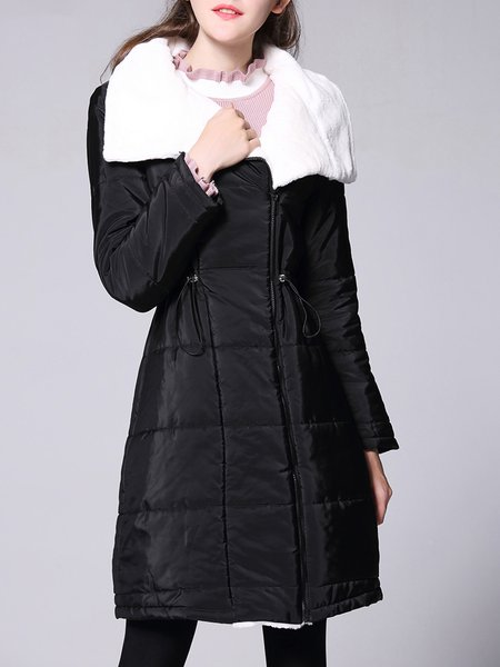 Plus Size Black Casual Paneled A-line Shawl Collar Coat