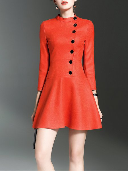 Solid 3/4 Sleeve Stand Collar Casual Mini Dress