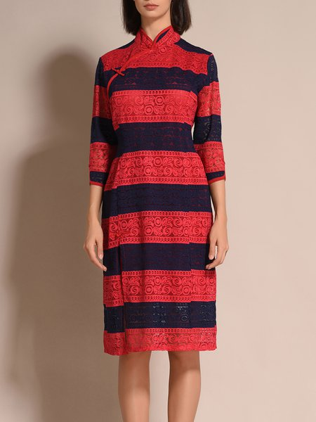 3/4 Sleeve A-line Lace Vintage Midi Dress