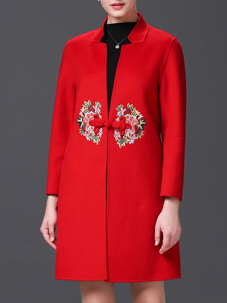 Red Polyester Long Sleeve Embroidered A-line Coat