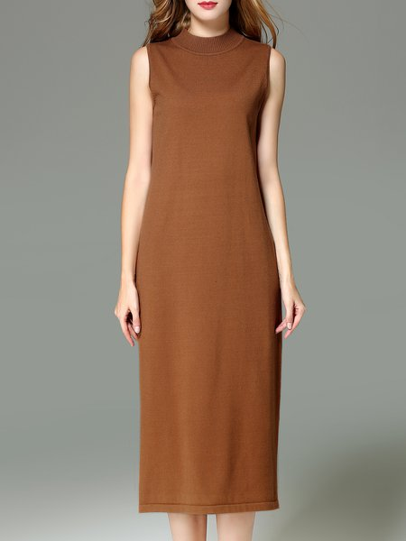 Sleeveless Plain H-line Midi Dress
