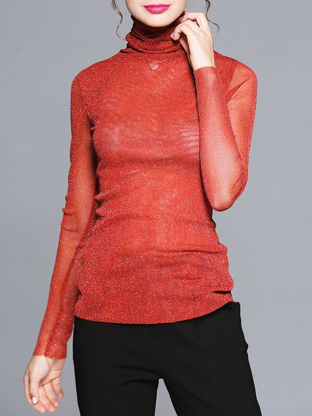 Plus Size Shimmer Long Sleeve Sexy Cowl Neck Blouse