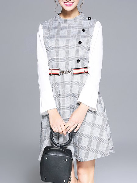 Plus Size Crew Neck Paneled Long Sleeve A-line Casual Midi Dress