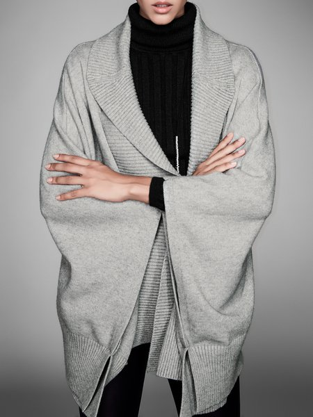 Casual Shift Cape Sleeve Ribbed Solid Poncho And Cape