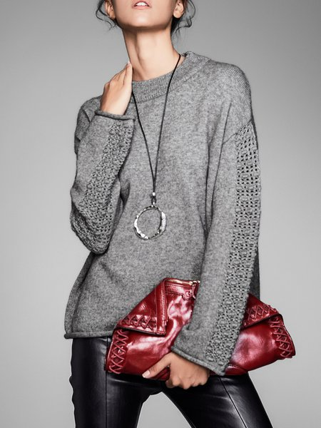 Long Sleeve Solid Knitted Casual Shift Sweater