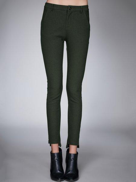 Plain Acrylic Casual Asymmetric Skinny Leg Pants