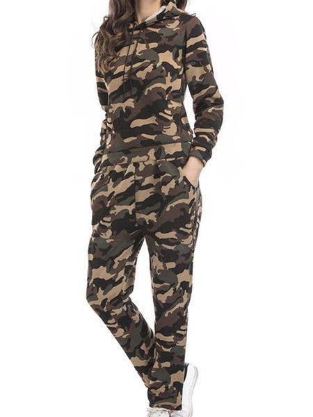Casual Hoodie Long Sleeve Printed Top With Pants