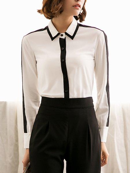 White Color-block Long Sleeve Shirt Collar Blouse