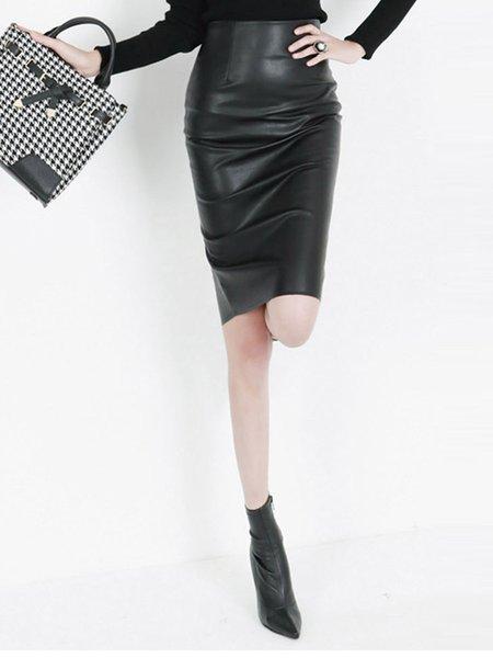 Solid Sheath Slit Casual Midi Skirt