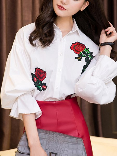 White Embroidered Balloon Sleeve Shirt Collar Blouse