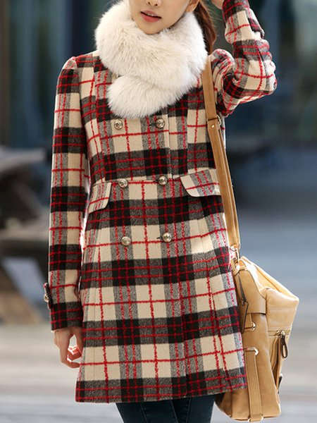 Coffee Casual Buttoned Checkered/Plaid Fur And Shearling Coat