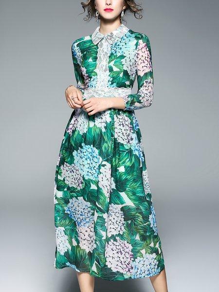 Green Printed Floral Shirt Collar 3/4 Sleeve Boho Dress