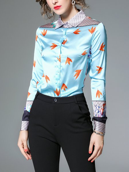 Blue Printed Leaf Long Sleeve Blouse