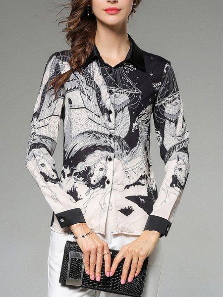 Long Sleeve Shirt Collar Printed Animal Blouse