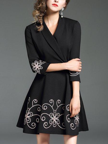 Black Floral Floral-embroidered Elegant Midi Dress
