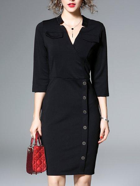Black Surplice Neck Sheath 3/4 Sleeve Midi Dress