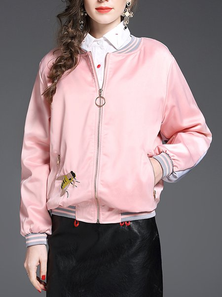 Pink Floral-embroidered Crew Neck Floral Long Sleeve Bomber Jacket