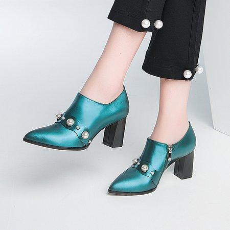 Aqua Chunky Heel Spring/Fall Suede Beading  Heels