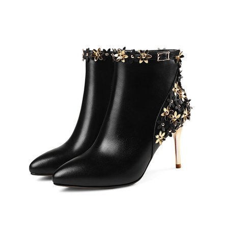 Black Winter Flower Stiletto Heel Boot