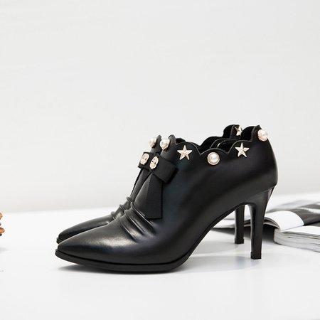 Black  Beading Stiletto Heel Heel