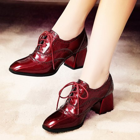 Chunky Heel Spring/Fall Patent Leather Lace-up Oxfords