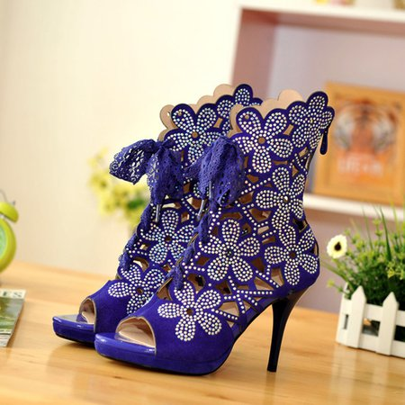 Blue Lace-up Party & Evening All Boots