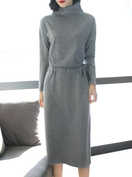 Light Gray Turtleneck Long Sleeve Cashmere Sweater Cashmere Dress
