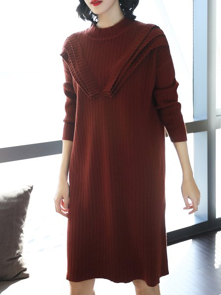 Caramel Knitted Casual Ribbed Solid Midi Cashmere Dress