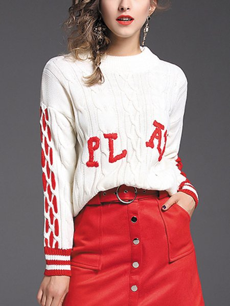 White Letter Long Sleeve Cotton Crew Neck Sweater
