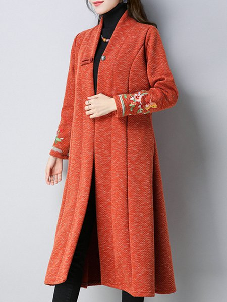 Orange Embroidered Casual A-line Cotton Outerwear