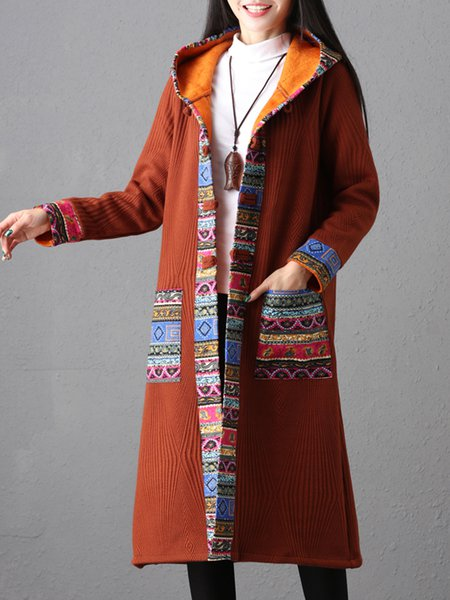 Tribal H-line Casual Long Sleeve Printed Outerwear