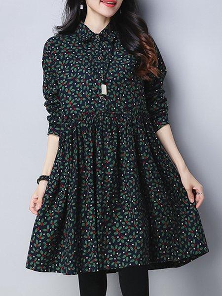 Long Sleeve Linen Casual Leaf Linen Dress