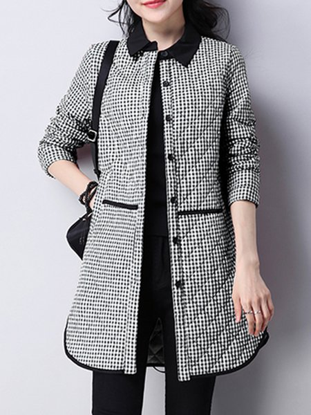 Long Sleeve Casual H-line Gingham Linen Outerwear