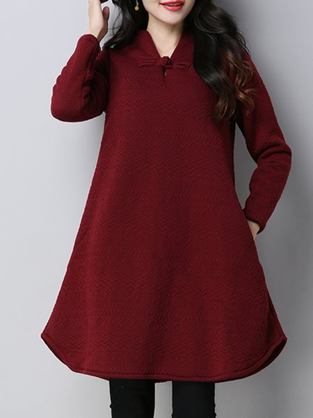 Stand Collar Long Sleeve Casual Plain Cotton CLOTH