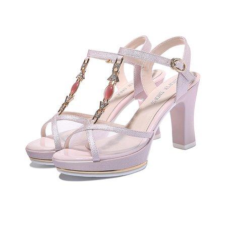 Pink PU Beading Chunky Heel Summer Sandals