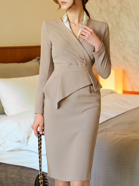Long Sleeve Surplice Neck Work Wrap Dress