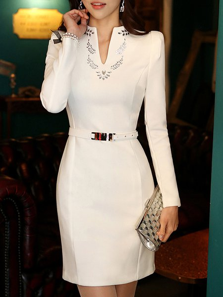 V neck Midi Dress Sheath Daily Long Sleeve Solid Dress