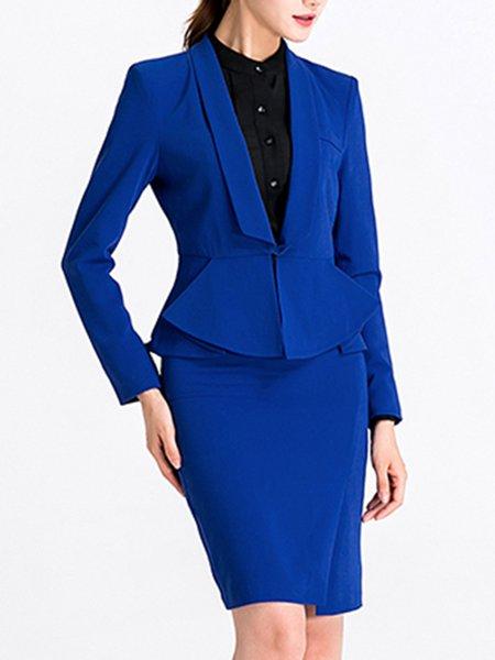 Slit Wool Blend Work Long Sleeve Dress With Coat