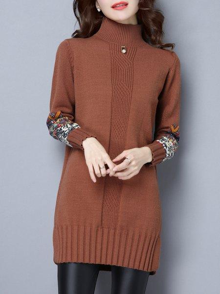 Tribal Long Sleeve Slit Casual Sweater Dress
