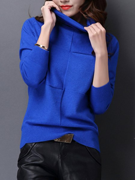 Turtleneck Casual Long Sleeve Solid Knitted Sweater