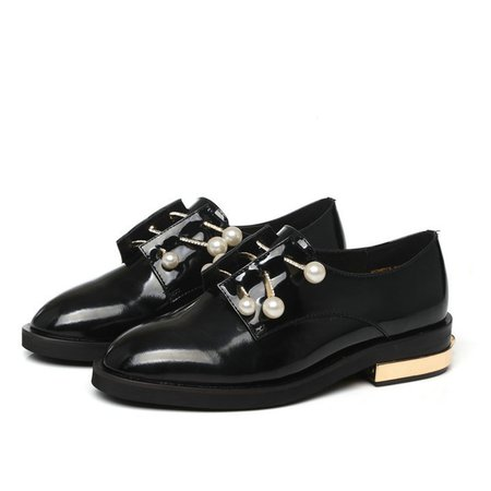 Black Spring/Fall Patent Leather Casual Chunky Heel Oxford