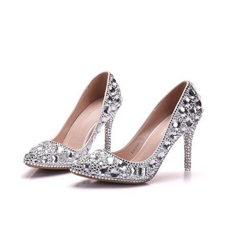 Plus Size Silver Glitter Party And Evening Stiletto Heel Rhinestone All Season Heels